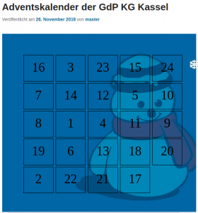 Start des GdP-Adventskalenders der KG Kassel